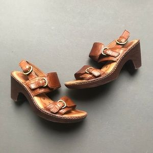 Born Brown Leather Sandals with Heel, Buckle, 7